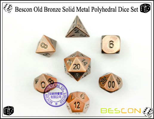 Bescon Old Bronze Solid Metal Polyhedral Dice Set-4