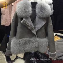 Venta al por mayor de la fábrica Proveedor de China Cuero Fox Abrigo de piel de cuello