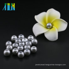 YIWU Bulk stock 6mm to 14mm Imitation Pearl UA34 Matte Silver Glass Pearl Beads Wholesale