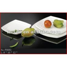Restaurant tableware durable white porcelain square dinner plates(No.P0081)