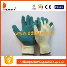 Green Latex Coating Knitted Gloves. Crinkle Finish (DKL324)