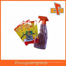 customized PVC shrink label/PET shrink sleeve label for cleaning products bottle