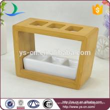 YSb40015-01 th Venda quente yongsheng branco acessório de banho conjunto com suporte de madeira
