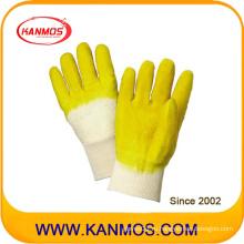 Рабочие перчатки из прорезиненной резины желтого цвета с защитой от износа (52001)