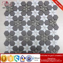 chinesischer Lieferant Neue grau und weiß-gemischte Parkett Design Kristallglas Mosaikfliese
