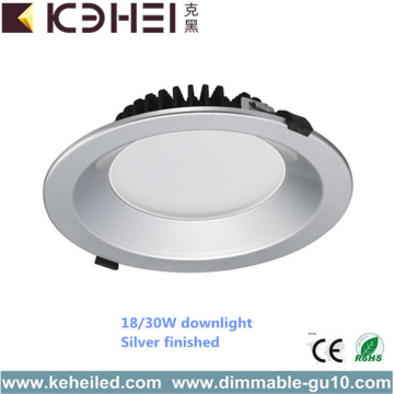Nouveau Design Round Dimmable Downlight Argent 30W