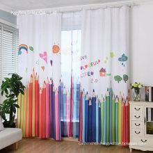 Kids Curtains Pencil Print for Children