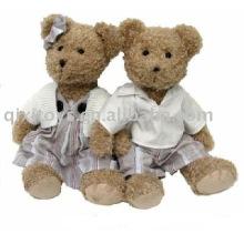 peluche garçon & fille nounours avec manteau, doux animal jouet de la Saint-Valentin