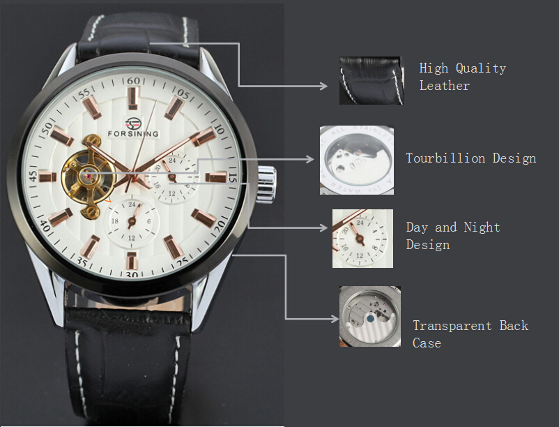 3atm water resistant stainless steel leather watch