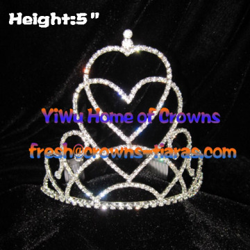 Pageant Kronen und Tiaras In Double Heart Shaped