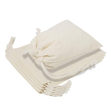 6 x 8 inch 100% Natural Cotton Reusable Produce Muslin Bags with Drawstrings for Shopping Storage
