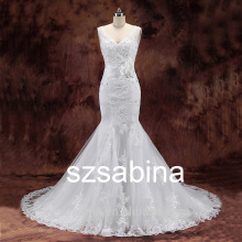 BD10081 nouvelle robe de mariée 2016 robe de mariée en dentelle en sirène de chapelle sans bretelles