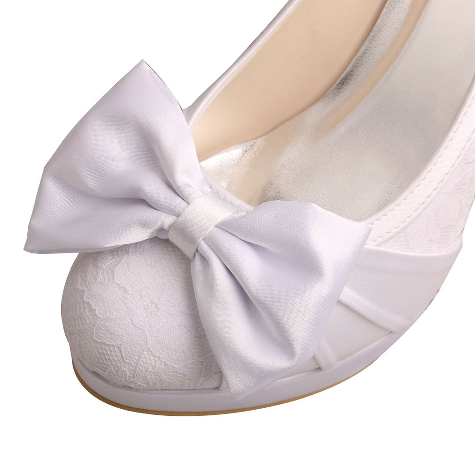 Lace Bridal Shoes Bowtie