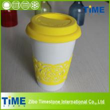 Keramische Kaffeetasse mit Silikon Deckel und Band