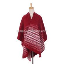 Moda mulheres Jacquard ombre inverno senhoras poncho casacos