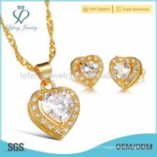 Gold diamond heart stud earrings,copper plating heart set jewelry