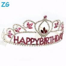 Coronas al por mayor pequeñas del cumpleaños del cabrito de los accesorios cristalinos rojos del pelo
