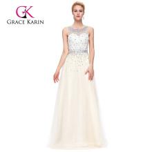 Grace Karin Sleeveless Sleeveless Tulle Netting Ivory color Beaded Prom Dresses GK000081-2