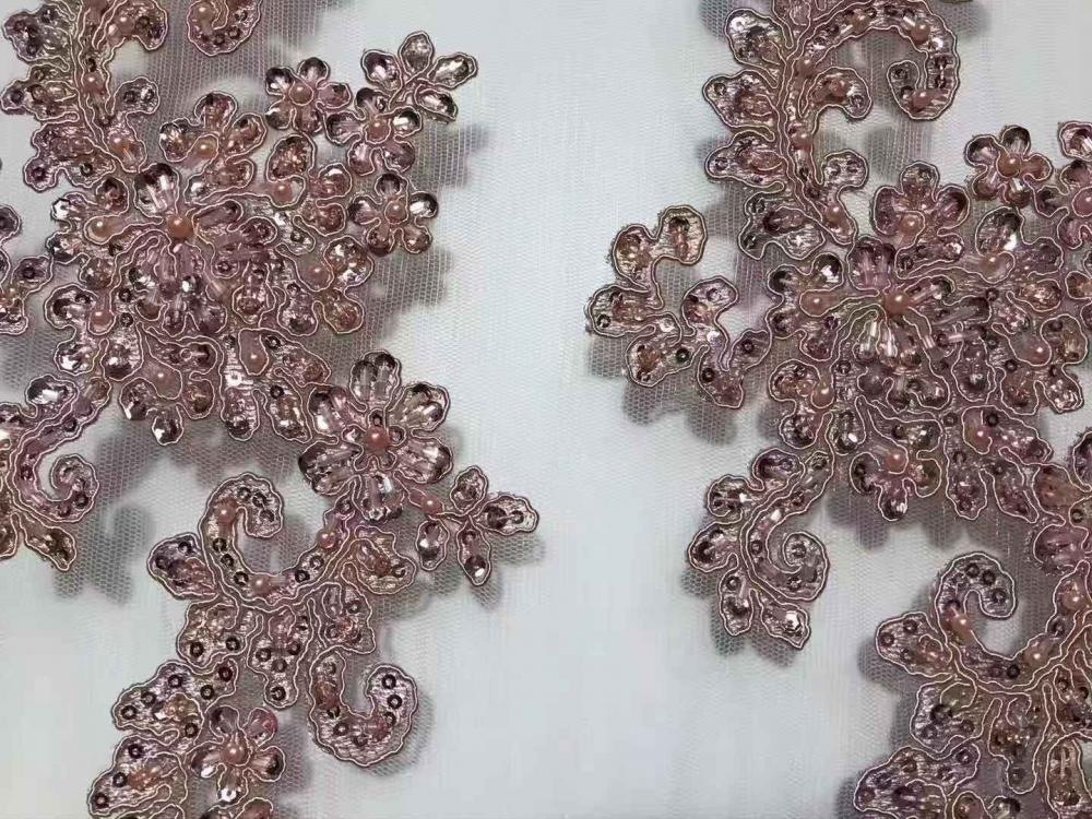 Beads And Pearl Embroidery Fabric