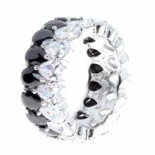 925 plata CZ anillo de dedo 2 tonos de plata de joyería al por mayor