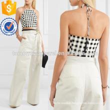 Cropped Gingham Cotton-blend Halterneck Top Manufacture Wholesale Fashion Women Apparel (TA4131B)