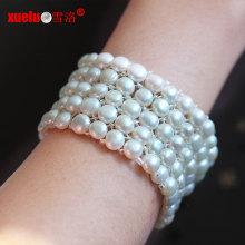 5 filas de joyería de la pulsera de la perla real de la moneda del elástico para los artículos promocionales Regalo