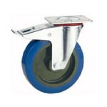 Top Plate Brake Type Industrial Rubber Wheel Caster (KXXD-D)