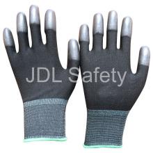 Guante de Nylon negro con la PU cubierta en yemas de los dedos (PN8013)