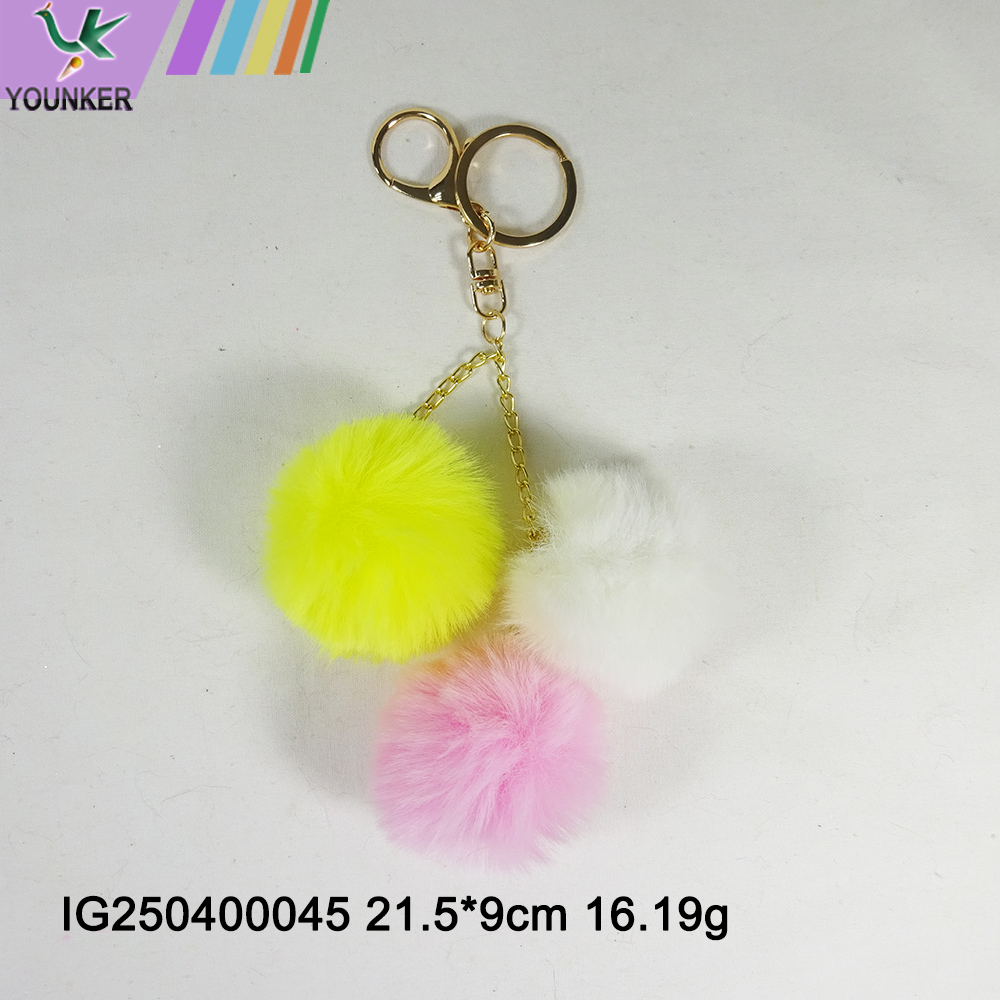 Faux Rabbit Fur Ever Pom Pom Keychain