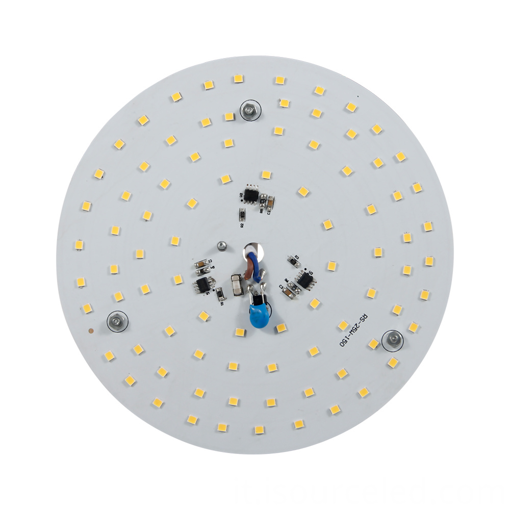 Front view of 220v SCR dimming round 25W AC LED Module