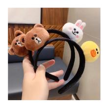 Wholesale Cartoon Plush Dolls Kids Cute Brown Hair Band Head band Germination Gifts Hair Accessories for Children