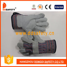Cow Split Leather Cotton Back Rubberized Cuff Safety Gloves