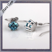 3-8mm Round Swiss Blue Synthetic Diamond Fashion Earring