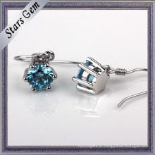 Brinco redondo da forma do diamante sintético do azul suíço de 3-8mm