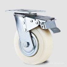 Heavy Duty Type New Double Pedal Brake White PP Wheel Caster (KHX3-H8-A)