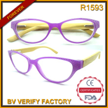 R1593 Vogue Female Style Bamboo Temples Reading Glasses Decorated with Rhinestone