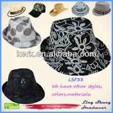 LSF33 Ningbo Lingshang Beautiful Flower Sequins Fabric Fedora fancy design cheap top hats
