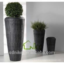 Vase -(10) home & garden furniture wicker/ PE rattan round garden flower pot set