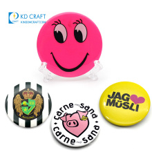 Popular design custom metal tin materials printed logo pin button badge with deluxe clutch