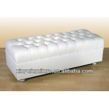 Otomano Moderno do Living Room em couro branco Faux XY0306