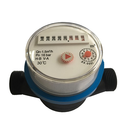 Household Single Jet Dry Type Plastic Water Meters with Plastic Body
