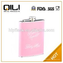 6oz color rosa brillante brillo cuero acero inoxidable frasco de la cadera para mujer
