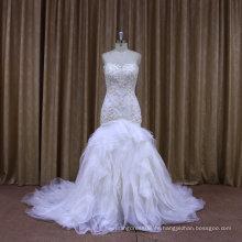 F88422 vestido de novia sin tirantes con cuentas de encaje plisado vestido de novia de sirena de organza