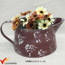 Pequeno Rústico Colorido Handmade Pintado Metal Flower Pot