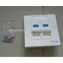 Fire-resistant Dual Port STP Cat5E Jack 86X86mm Angled Faceplate