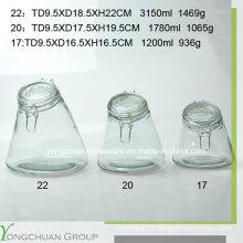 3000ml 1800ml pot de stockage en verre 1200ml avec coussin en verre clip en gros