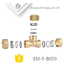 EM-F-B059 3 Manches en laiton Espagne T Compression Pex Fitting Pipe