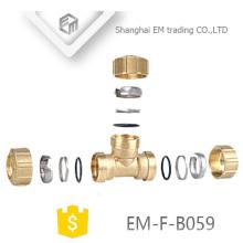 EM-F-B059 3 Ways Brass Spain Tee Compression Pex Pipe Fitting