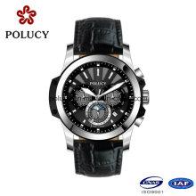 Faire personnalisé luxe chronographe montres hommes cuir