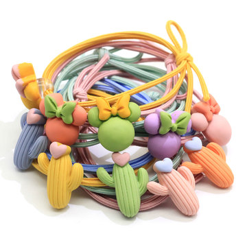 100Pcs Cartoon Candy Color Girls' Elastic Hair Ties Baby Girl's Hair Band Headband Ponytail Holders Bracelet Hair Accessories